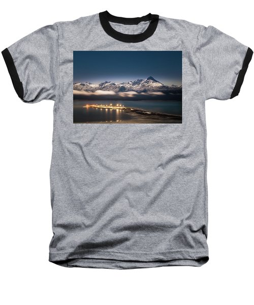 Homer Spit With Moonlit Mountains Baseball T-Shirt