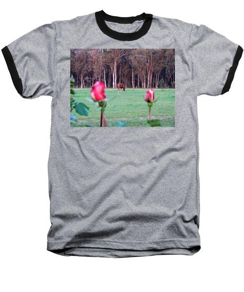 Horse And Roses Baseball T-Shirt