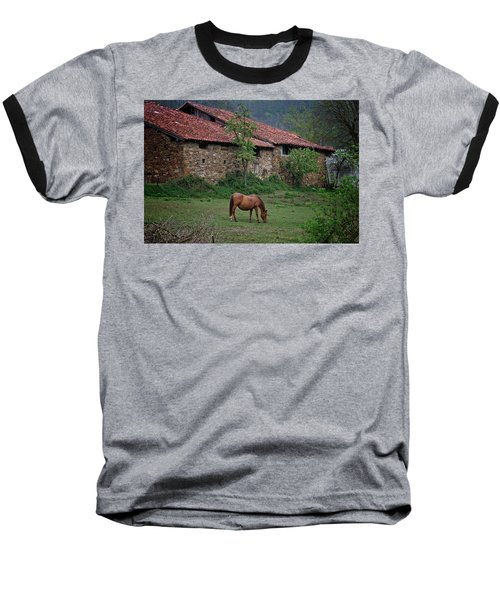 Horse In The Field Next To A Rural House Baseball T-Shirt