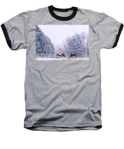 Horses In The Snow Baseball T-Shirt