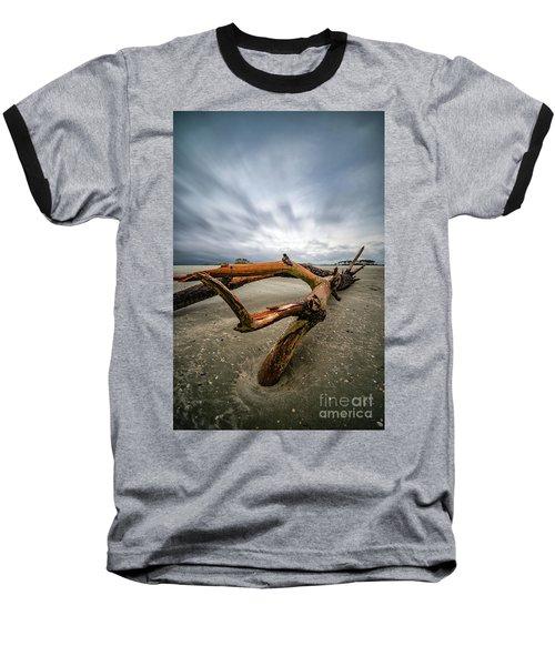 Hurricane Florence Beach Log - Portrait Baseball T-Shirt