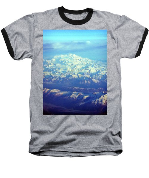 Ice Covered Mountain Top Baseball T-Shirt
