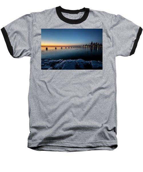 Icy Chicago Skyline At Dawn  Baseball T-Shirt