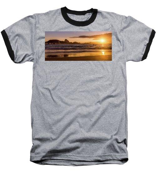 Idyllic Sunrise In Copacabana Beach In Rio De Janeiro, Brazil Baseball T-Shirt