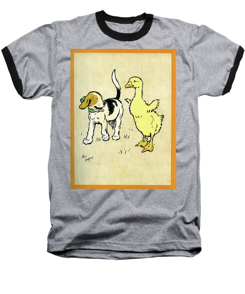 Illustration Of Puppy And Gosling Baseball T-Shirt