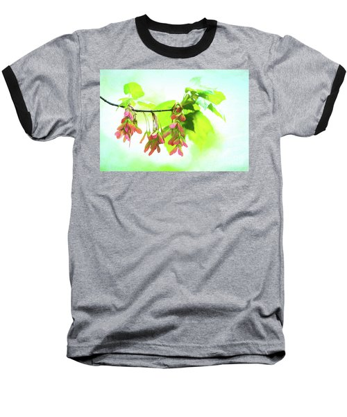Impressionistic Maple Seeds And Foliage Baseball T-Shirt