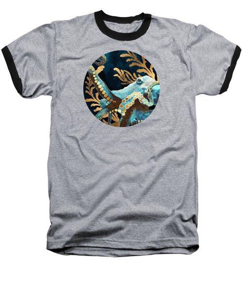 Indigo Octopus Baseball T-Shirt