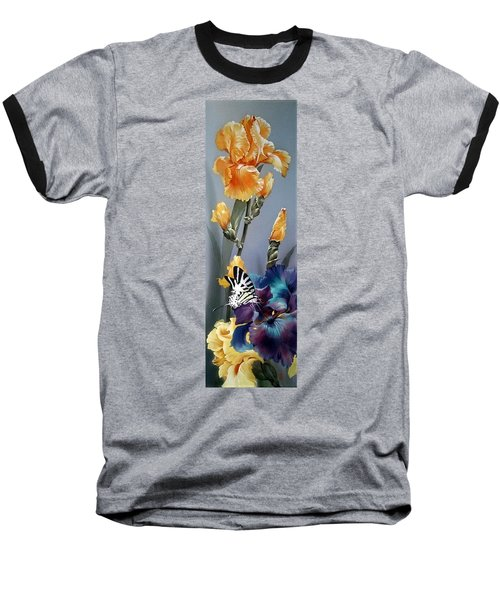 Iris Flower With Butterfly Baseball T-Shirt