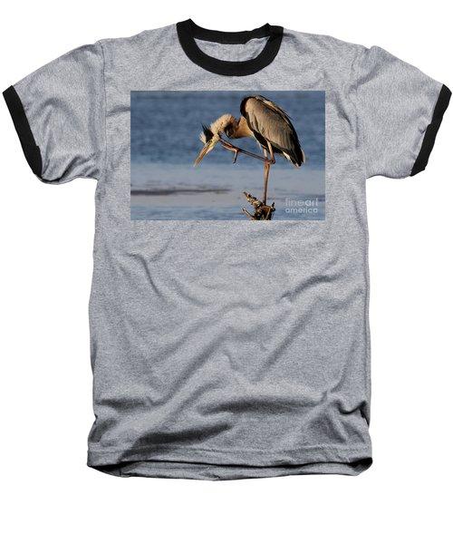 Itchy - Great Blue Heron Baseball T-Shirt
