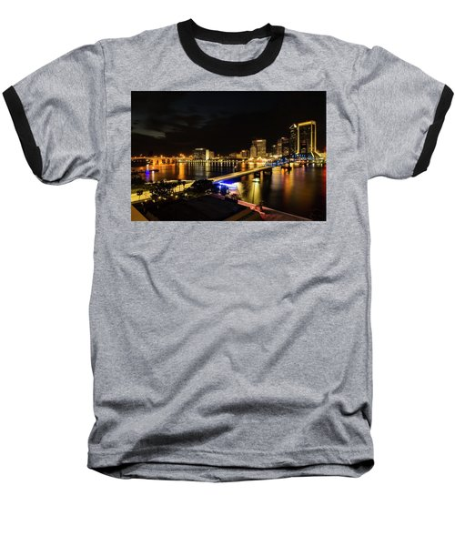 Jacksonville Skyline By Night Baseball T-Shirt