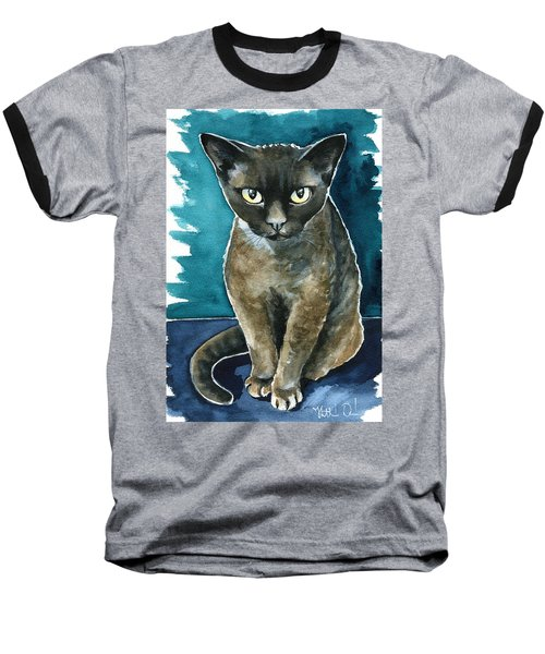 Joey - Devon Rex Cat Painting Baseball T-Shirt