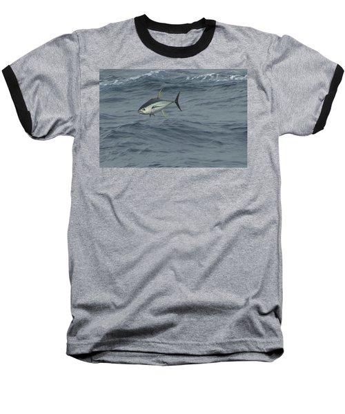 Jumping Yellowfin Tuna Baseball T-Shirt