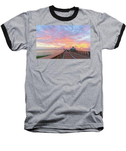 Juno Beach Pier Sunrise Baseball T-Shirt
