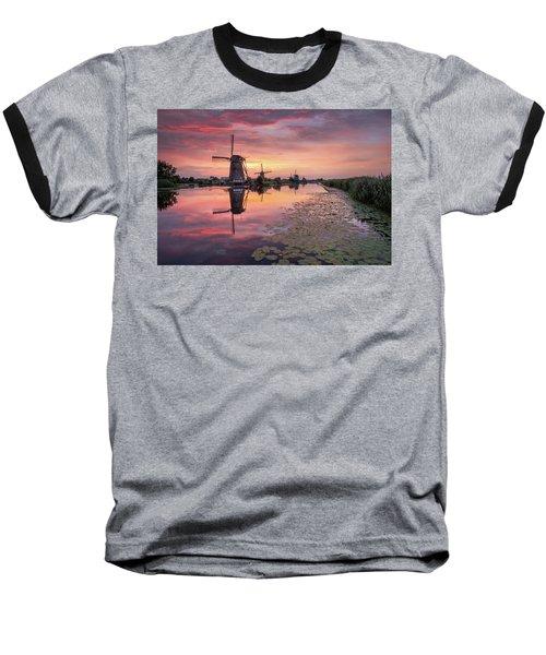 Kinderdijk Sunset Baseball T-Shirt