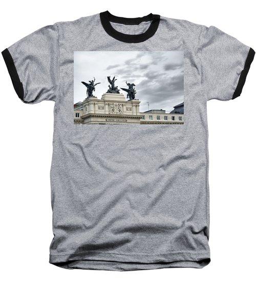 Baseball T-Shirt featuring the photograph La Gloria Y Los Pegasos Sculptures by Eduardo Jose Accorinti