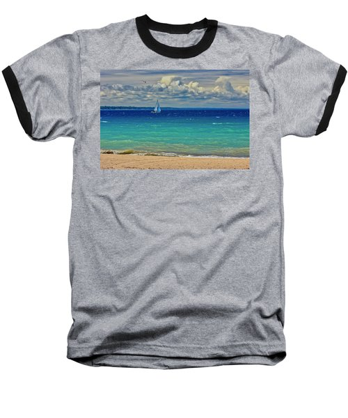 Lake Huron Sailboat Baseball T-Shirt