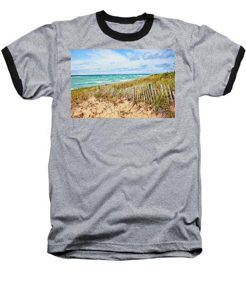 Lake Michigan Beachcombing Baseball T-Shirt