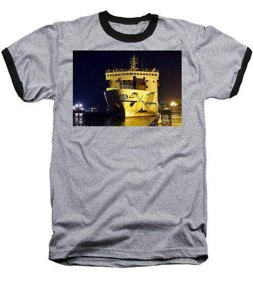Large Ferry Docked In Port By Night Baseball T-Shirt