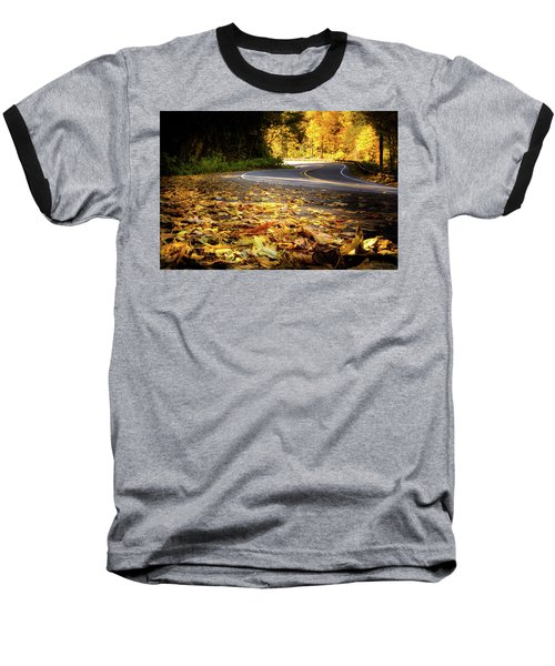 Leaves Along The Road Baseball T-Shirt
