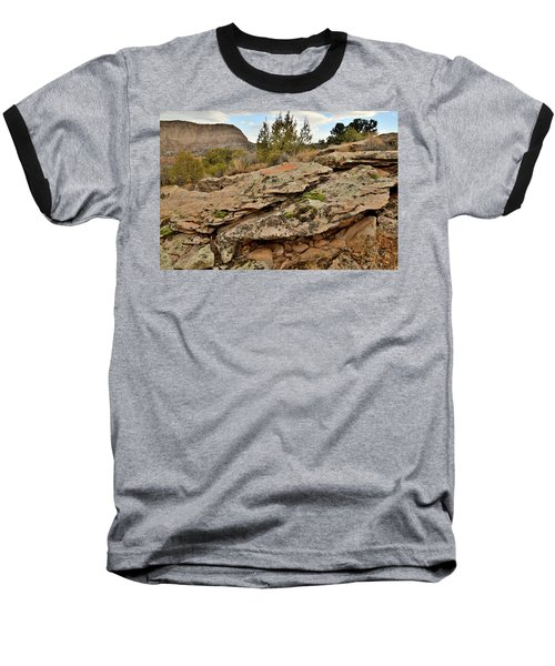 Lichen Covered Ledge In Colorado National Monument Baseball T-Shirt