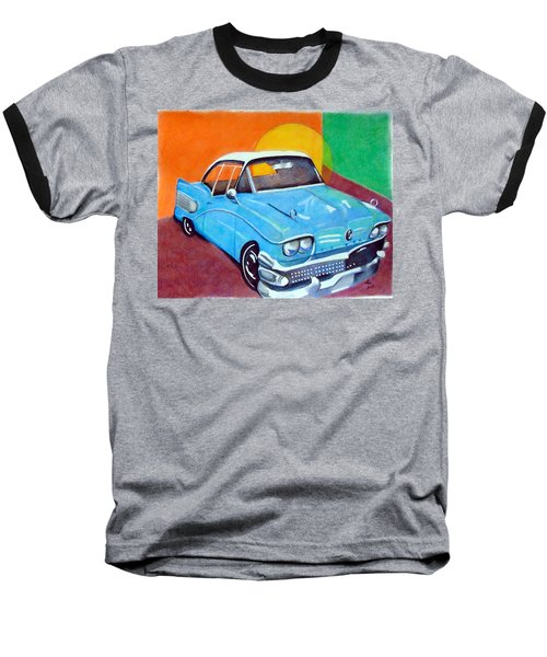 Light Blue 1950s Car  Baseball T-Shirt