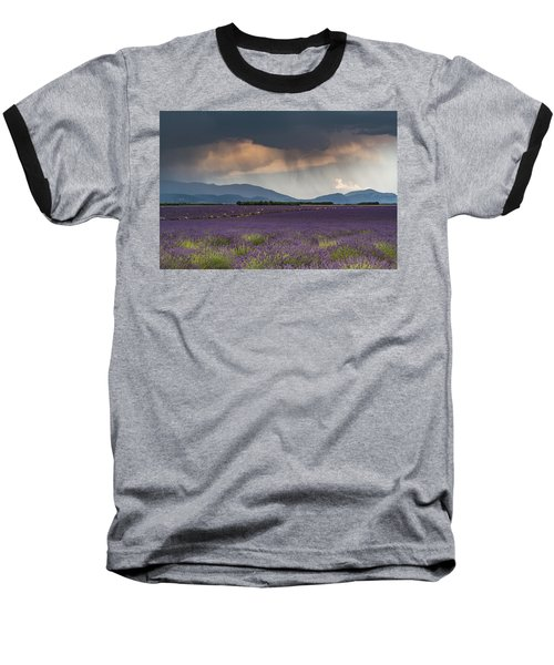 Lightning Over Lavender Field Baseball T-Shirt
