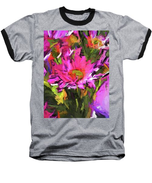 Lolly Pink Daisy Flower Baseball T-Shirt
