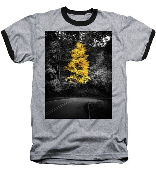 Lone Yellow Tree In The Curve Baseball T-Shirt