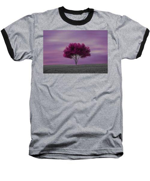 Lonely Tree At Purple Sunset Baseball T-Shirt