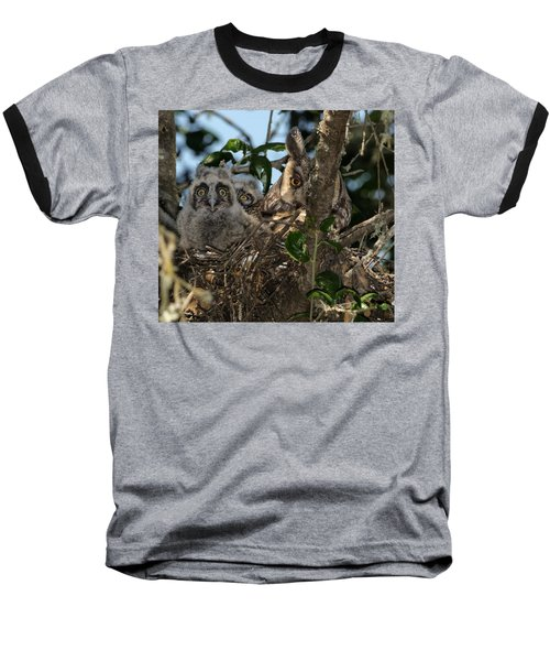 Long-eared Owl And Owlets Baseball T-Shirt
