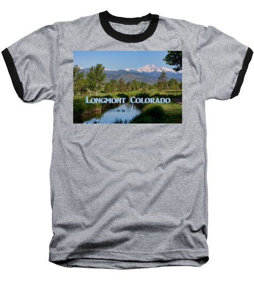 Baseball T-Shirt featuring the photograph Longmont Colorado Twin Peaks View Poster by James BO Insogna