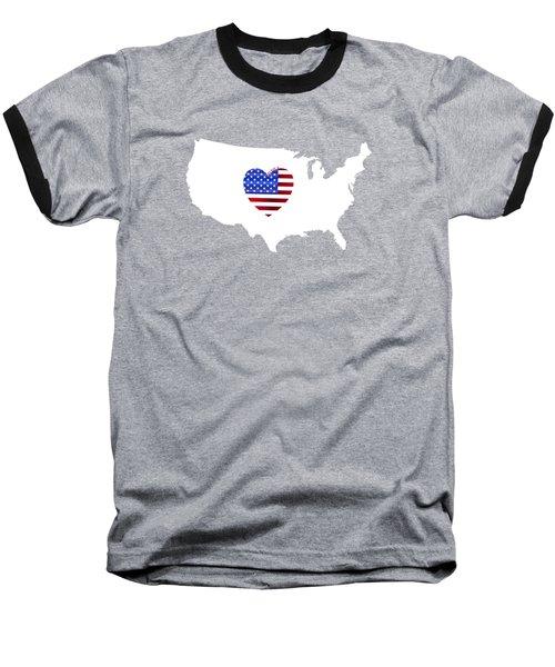Love America Map Baseball T-Shirt