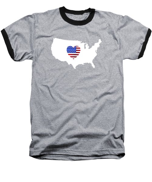 Love America Map Baseball T-Shirt