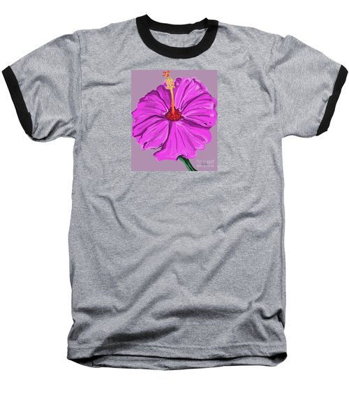 Lovely Pink Hibiscus Baseball T-Shirt