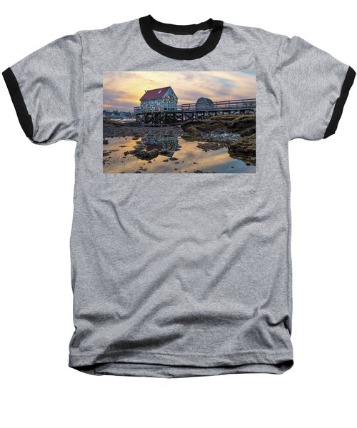 Low Tide Reflections, Badgers Island.  Baseball T-Shirt