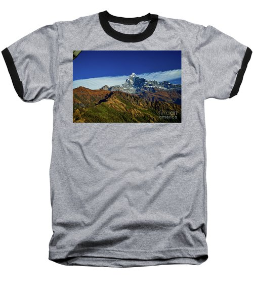 Machapuchare Mountain Fishtail In Himalayas Range Nepal Baseball T-Shirt