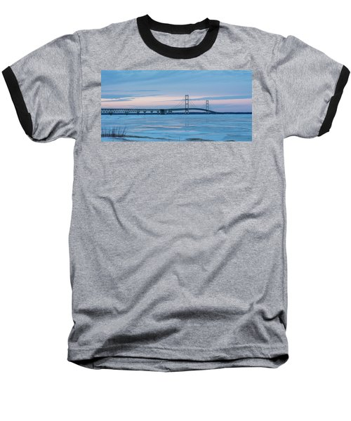 Mackinac Bridge In Ice 2161803 Baseball T-Shirt