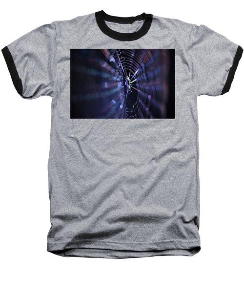 Macro Of A Spiders Web Captured At Night. Baseball T-Shirt