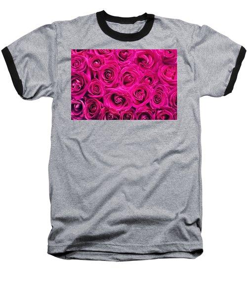 Magenta Roses Baseball T-Shirt