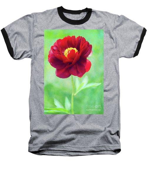 Magnificent Crimson Peony Baseball T-Shirt