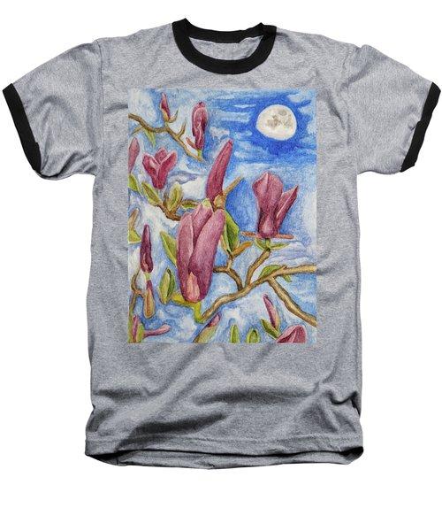 Magnolias With Daytime Moon Baseball T-Shirt