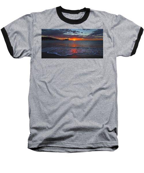 Malibu Pier Sunrise Baseball T-Shirt