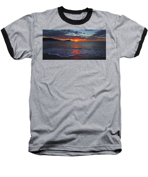 Malibu Pier Sunrise Baseball T-Shirt