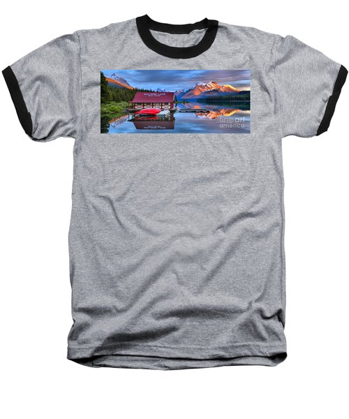 Maligne Lake Sunset Spectacular Baseball T-Shirt
