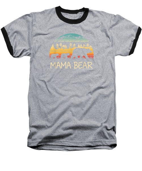 Mama Bear With 2 Cubs Shirt Retro Mountains Mother's Day Baseball T-Shirt