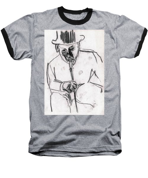 Man In Top Hat And Cane Baseball T-Shirt