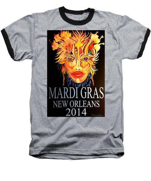 Mardi Gras Lady Baseball T-Shirt