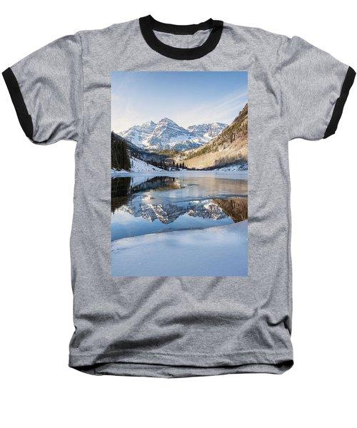 Maroon Bells Reflection Winter Baseball T-Shirt