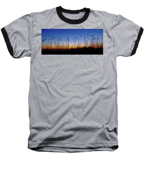Marsh Grass Silhouette  Baseball T-Shirt