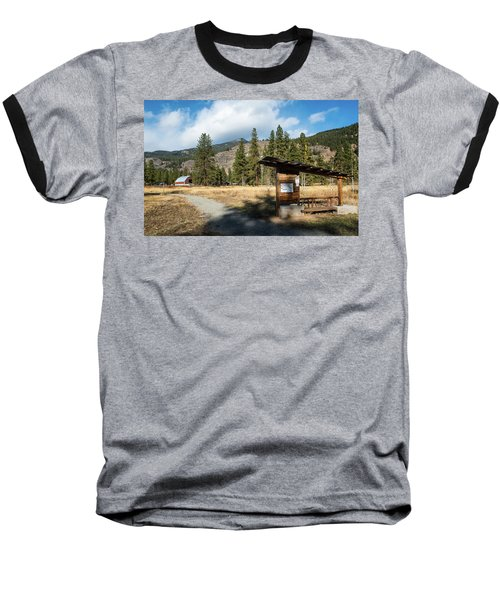 Mazama Barn Trail And Bench Baseball T-Shirt